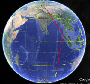Early Inmarsat route calculation, from Ashton et al.
